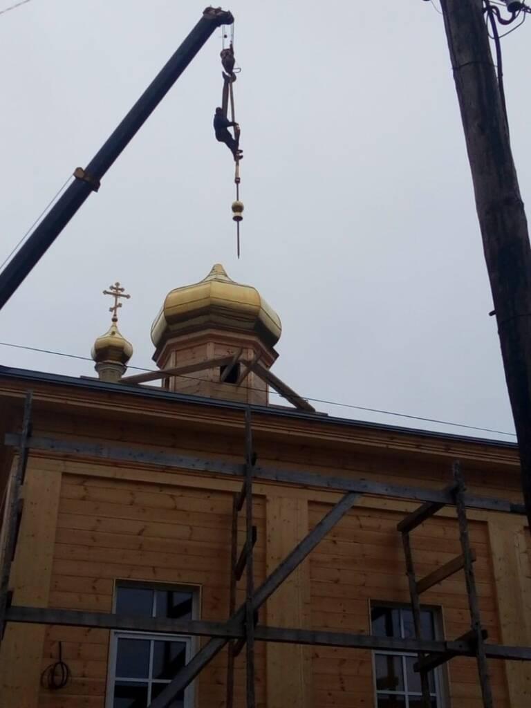 Освящение и установка куполов с крестами для Никольского храма города Спас-Клепики