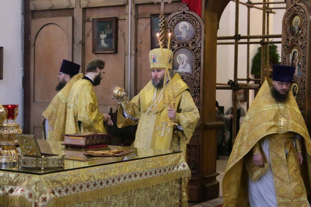 Божественная литургия в Неделю 29-ю по Пятидесятнице, перед Рождеством Христовым в Вознесенском кафедральном соборе города Касимова