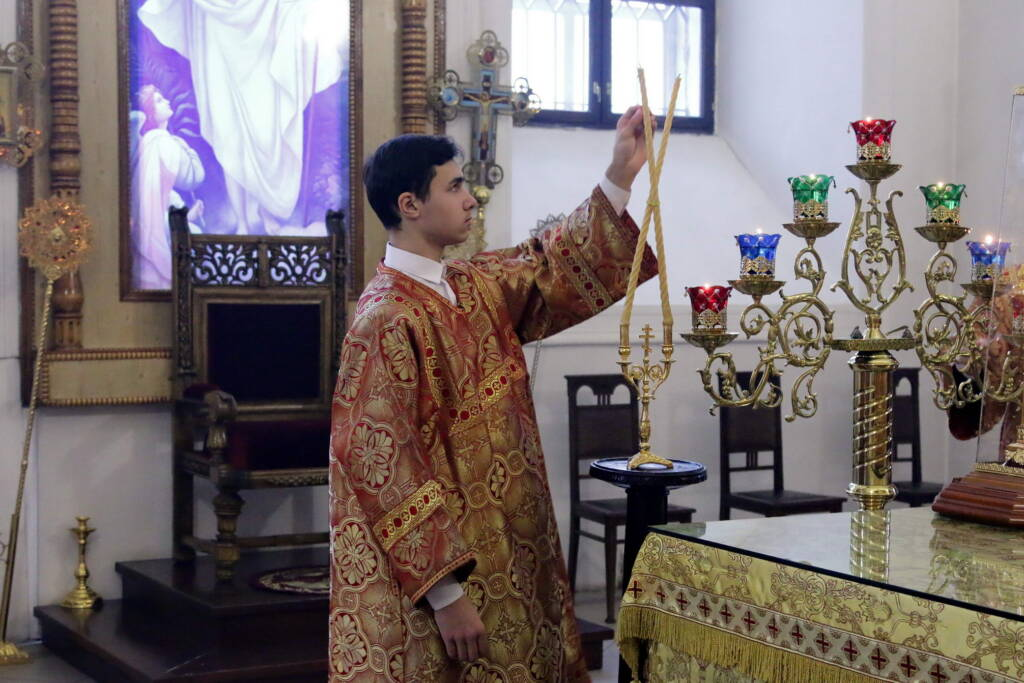 Божественная литургия в день памяти священномученика Матфия, пресвитера Касимовского в Вознесенском кафедральном соборе города Касимова