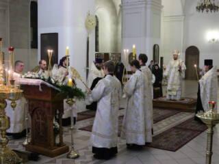 Всенощное бдение в канун Недели 31-й по Пятидесятнице, по Рождестве Христовом в Вознесенском кафедральном соборе города Касимова