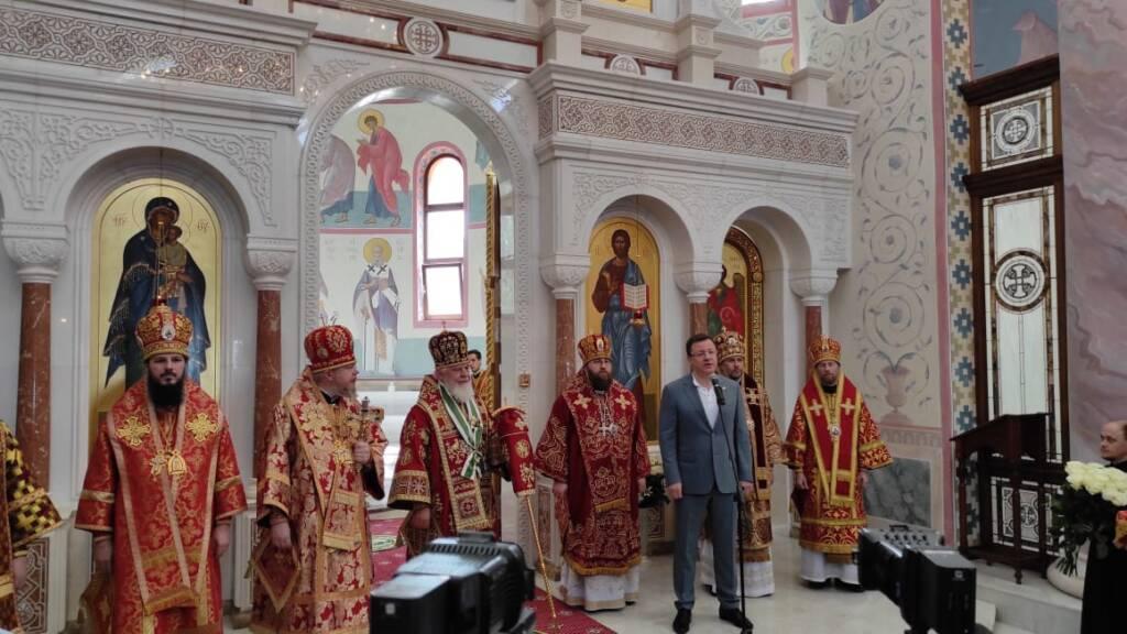 Епископ Василий сослужил митрополиту Самарскому и Новокуйбышевскому Сергию в Софийском соборе г. Самары